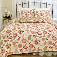 Tapestry Rose Floral Reversible 3-piece Quilt Set