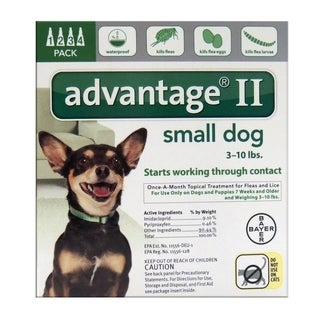 Bayer Advantage II 0.056 oz. Flea and Tick Drops For Dogs and Puppies Liquid Imidacloprid/Pyriproxyfen