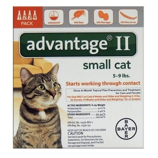 Bayer Advantage II 0.056 oz. Flea and Tick Drops for Cats Liquid Imidacloprid/Pyriproxyfen Boxed