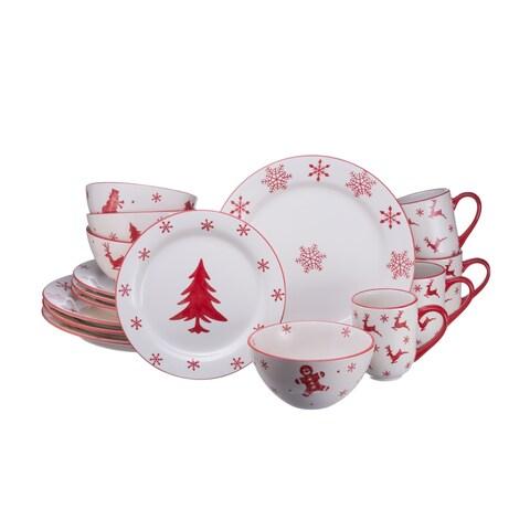 Euro Ceramica Winterfest 16 Piece Dinnerware Set (Service for 4)