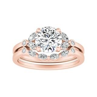 14k Gold 5/8ct TDW Floral Nature Inspired Round Diamond Engagement Ring Set by Auriya - White H-I