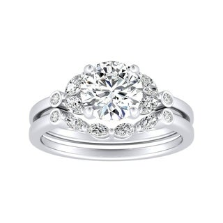 14k Gold 1 1/10ct TDW Floral Nature Inspired Diamond Engagement Ring Set by Auriya - White H-I