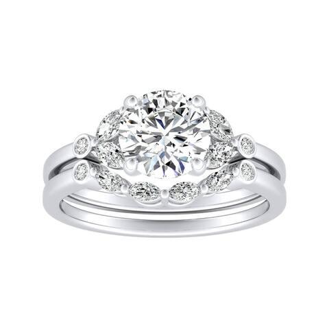 14k Gold 7/8ct TDW Vintage Diamond Engagement Ring Set by Auriya