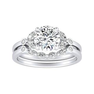 14k Gold 7 8ct TDW Vintage Diamond Engagement Ring Set By Auriya White H I