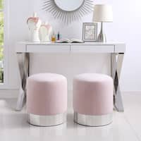 Inspired Home Sadie Velvet Ottoman Round with Metal Base