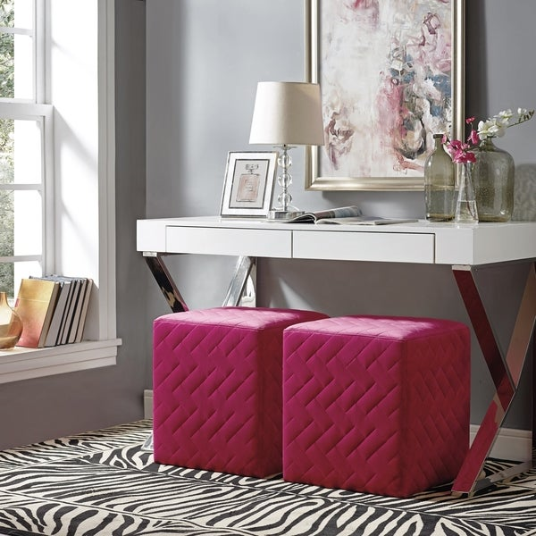 Shop Inspired Home David Velvet Ottoman Brick Quilted Cube On Sale