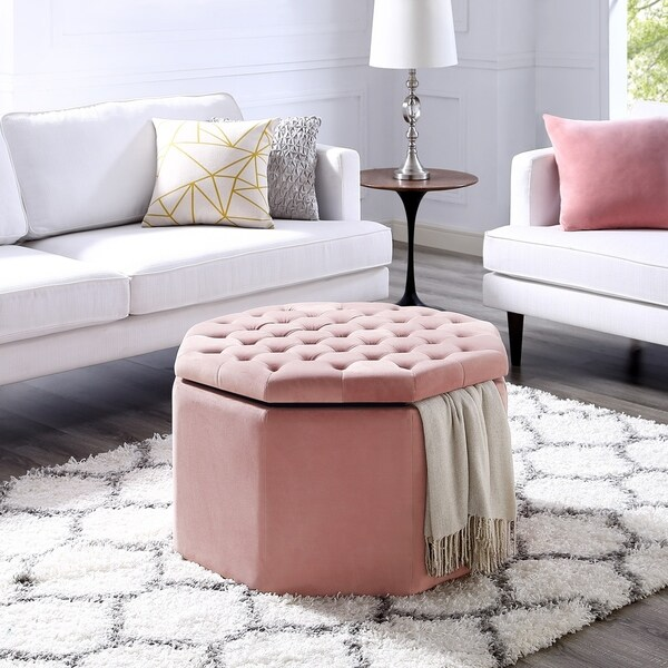 Inspired Home Susan Velvet/Linen Ottoman Storage Octagon Cocktail
