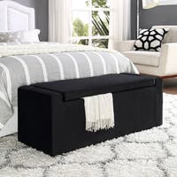 Inspired Home Chase Velvet Bench with Shoe Storage