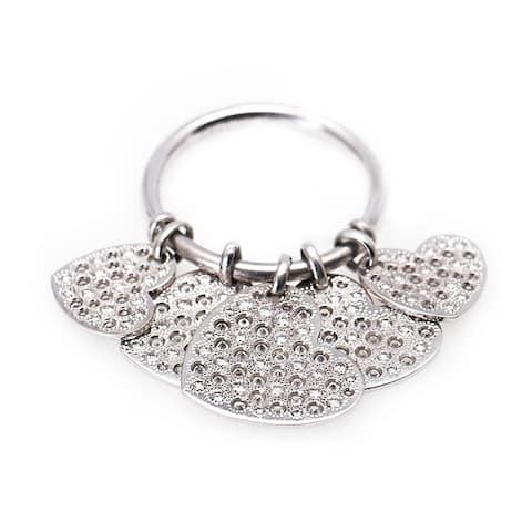Dior White Gold Diamond Hearts Dangle Ring