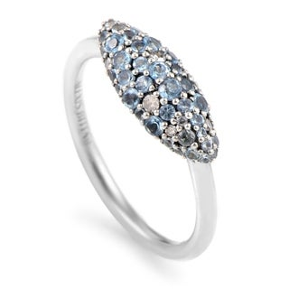 Alexis Bittar Sterling Silver Grey Diamond and Blue Zircon Band Ring