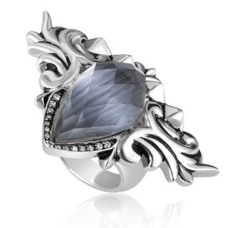 Baroque Superstud Womens Sterling Silver Diamond and Gemstone Ring