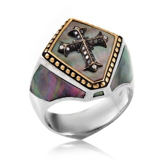 Men's Gold-Plated Diamond and Mother Of Pearl Cross Signet Ring