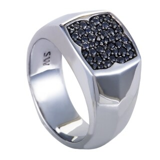 Rayman Mens Silver and Black Sapphire Pave Signet Ring