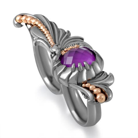 Jewels Verne Sterling Silver Sugilite & Quartz Two-Finger Ring