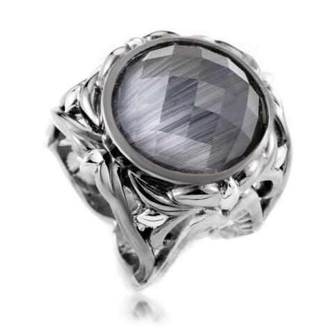 Les Dents de la Mer Sterling Silver Cat's Eye and Quartz Ring