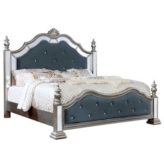 Furniture of America Zeln Traditional Silver Solid Wood Panel Bed