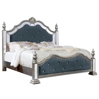 Furniture of America Joliet Traditional Tufted Silver Bed