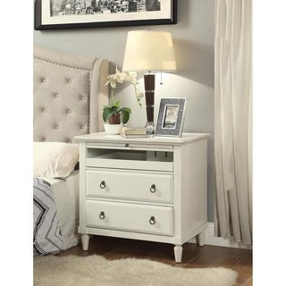 Madison Antique White Wood Nightstand with Charging Station
