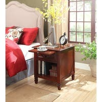 Carlton Espresso Wood Nightstand with Charging Station