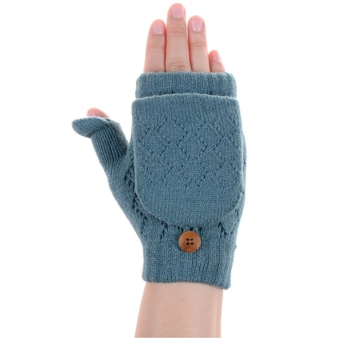 BYOS Winter Soft Plush Fleece Lined Convertible Fingerless Knit Gloves