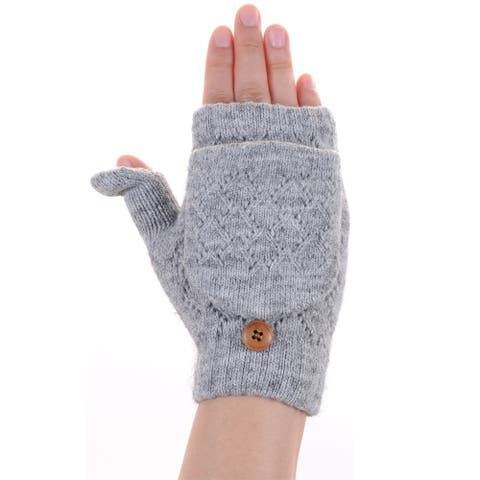 BYOS Winter Soft Plush Fleece Lined Convertible Fingerless Knit Gloves