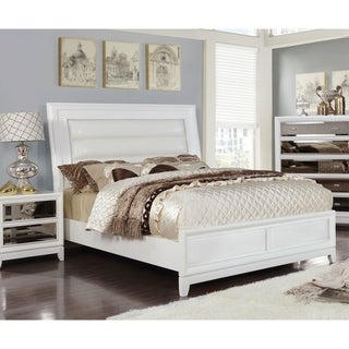Furniture of America Welker Contemporary White Solid Wood Panel Bed