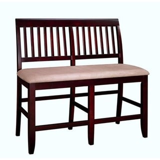 Brendan Espresso Bordeaux Slat Back Padded Seat Counter Bench