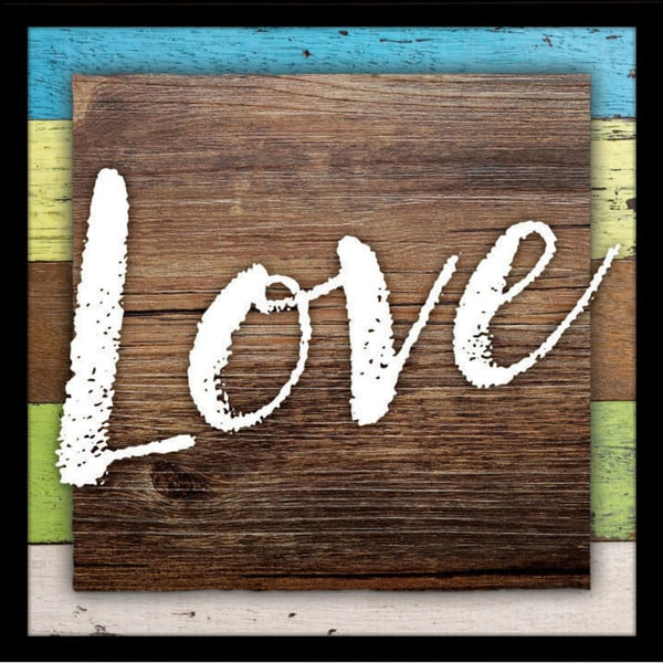 """Love Wood Plaque with Easel - 7.5"""" x 7.5"""""""