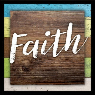 "Faith Wood Plaque with Easel - 7.5"" x 7.5"""