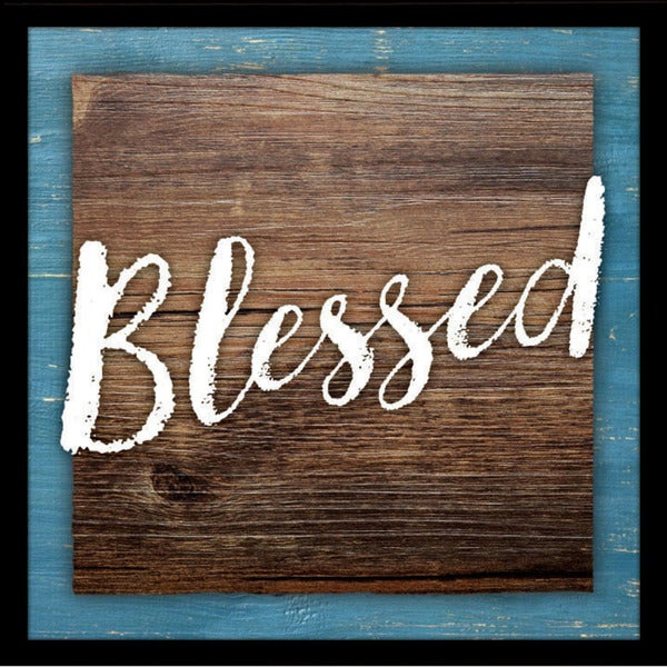 "Blessed Wood Plaque with Easel - 7.5"" x 7.5"""