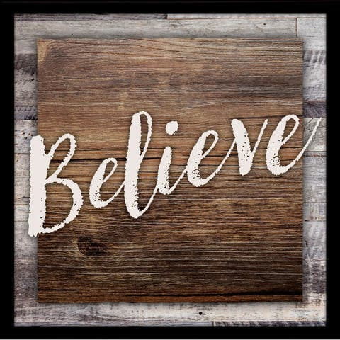 "Believe Wood Plaque with Easel - 7.5"" x 7.5"""