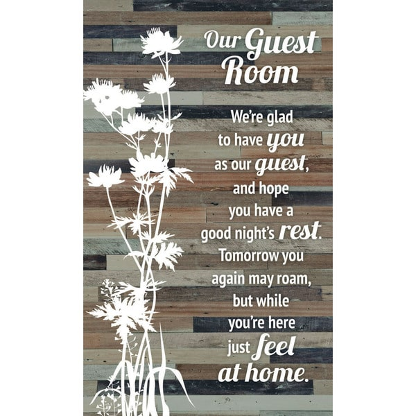 """Our Guest Room Wood Plaque Easel - 6"""" x 9"""". Opens flyout."""