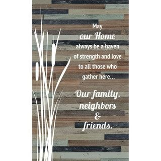"May our home always be a haven of strength and love Wood Plaque Easel Hanger - 6"" x 9"""