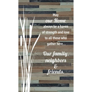 """May our home always be a haven of strength and love Wood Plaque Easel Hanger - 6"""" x 9"""""""