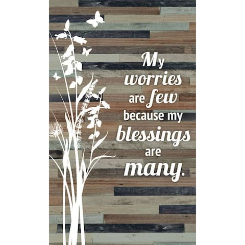 "My worries are few because my blessings are many Wood Plaque Easel Hanger - 6"" x 9"""
