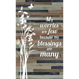 """My worries are few because my blessings are many Wood Plaque Easel Hanger - 6"""" x 9"""""""