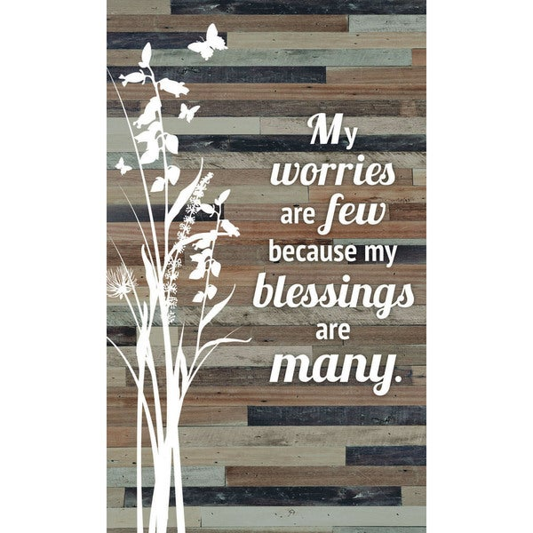 """My worries are few because my blessings are many Wood Plaque Easel Hanger - 6"""" x 9"""". Opens flyout."""