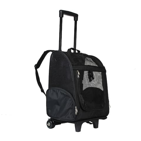 World Traveler Black 20-Inch Rolling Small Pet Carrier Backpack Carry-On Convertible