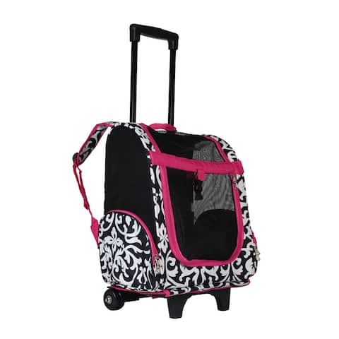World Traveler Damask 20-Inch Rolling Small Pet Carrier Backpack Carry-On Convertible