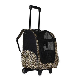 World Traveler Leopard 20-Inch Rolling Small Pet Carrier Backpack Carry-On Convertible