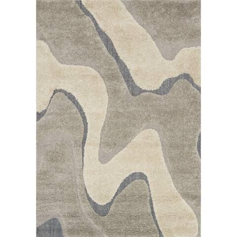 """Carson Carrington Heim Mid-Century Modern Abstract Wave Shag Rug - 3'10"""" x 5'7"""""""