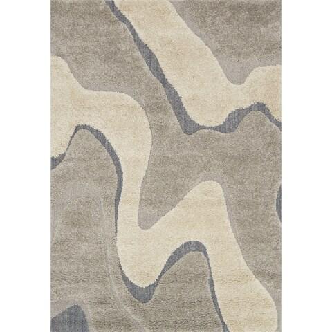 Carson Carrington Heim Abstract Mid-century Grey/ Taupe Shag Area Rug - 3'10 x 5'7