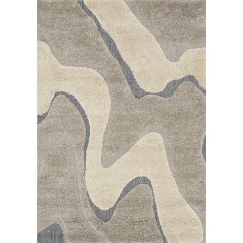 "Carson Carrington Heim Mid-Century Modern Abstract Wave Shag Rug - 5'3"" x 7'7"""