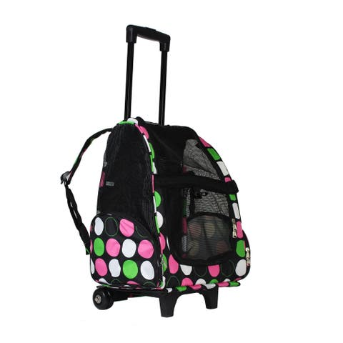 World Traveler Polka Dot 20-Inch Rolling Small Pet Carrier Backpack Carry-On Convertible