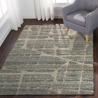 "Abstract Mid-century Modern Multi Grey Shag Rug - 3'10"" x 5'7"""