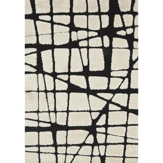 Abstract Mid-century Modern Ivory/ Black Shag Rug - 2'3 x 3'9