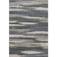 "Modern Abstract Slate/ Grey Industrial Shag Rug - 3'10"" x 5'7"""