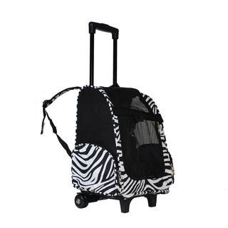 World Traveler Zebra 20-Inch Rolling Small Pet Carrier Backpack Carry-On Convertible