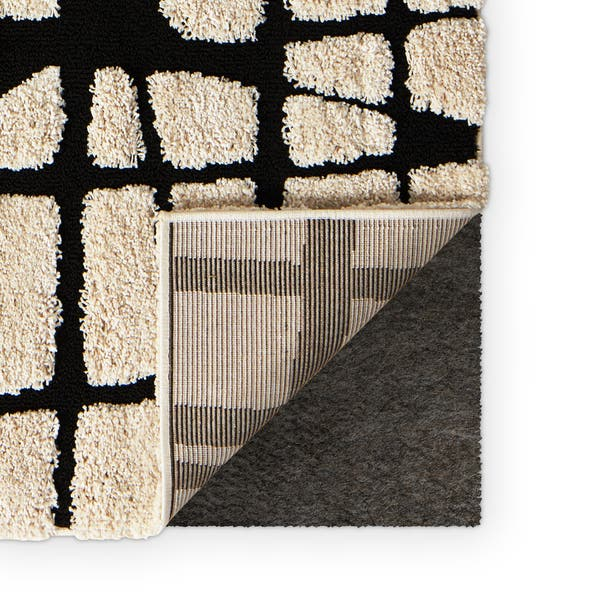 Abstract Mid Century Modern Ivory Black Shag Rug 7