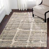 Abstract Mid-century Mist Grey/ Beige Shag Rug - 7'7 x 10'6